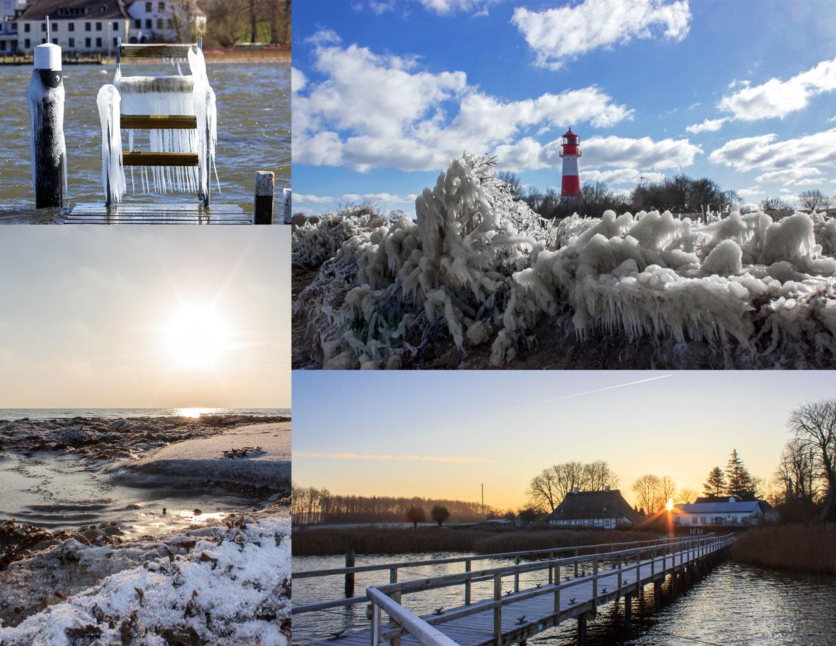 Collage Winter - Vereister Steg in Arnis - Vereister Strand vor dem Leuchtturm in Falshöft - Sonnenaufgang in Sieseby an der Schlei - Eis und Schnee am Strand in Waabs