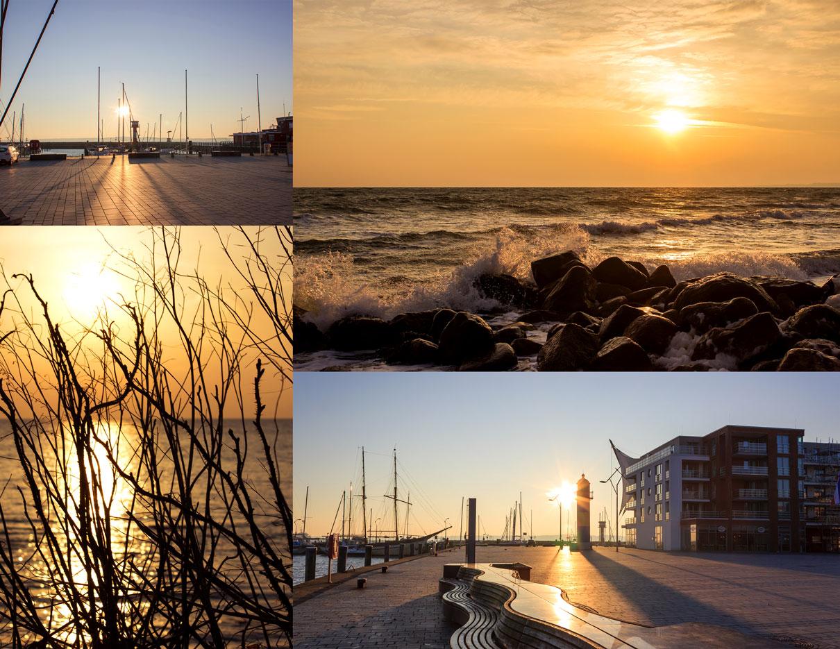 Collage mit vier Fotos - Sonnenaufgang am Hafen in Eckernförde - Sonnenaufgang am Strand in Damp