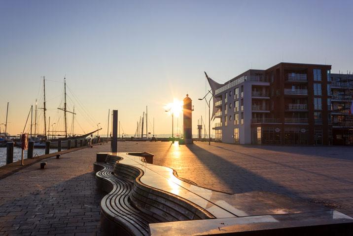 Sonnenaufgang am Hafen in Eckernförde