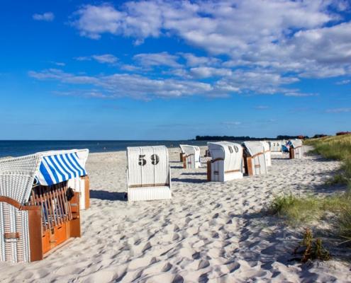 Strandkörbe am Strand in Kronsgaard