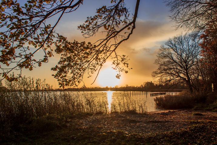 Sonnenuntergang in Lindaunis an der Schlei