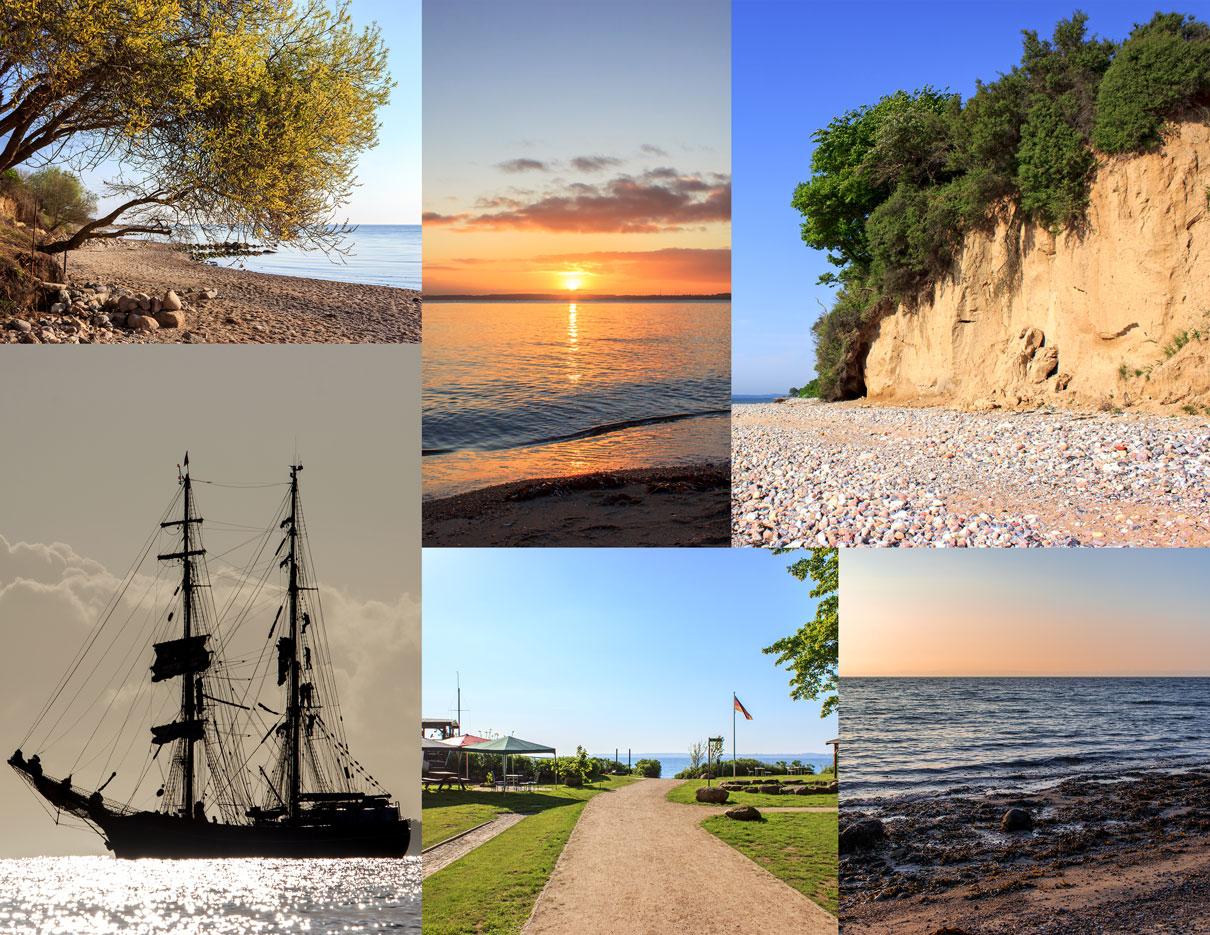 Collage mit sechs Fotos aus Kleinwaabs - Baum an der Küste im Frühling - Sonnenaufgang - Steilküste in Kleinwaabs - Traditionssegler im Gegenlicht - Weg an den Strand in Kleinwaabs - Morgenrot in Kleinwaabs