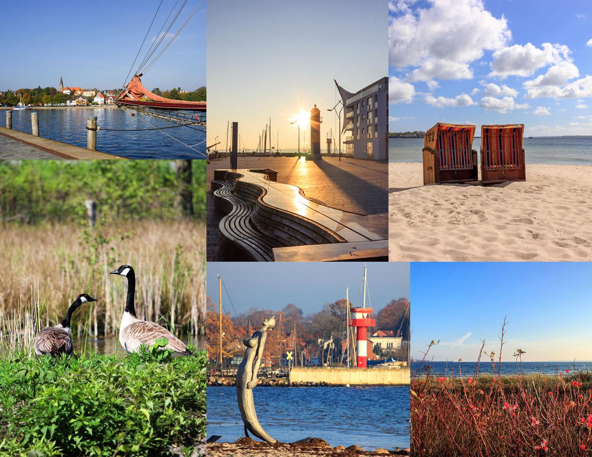 Collage mit sechs Fotos - Hafen in Eckernförde - Sonnenaufgang am Hafen - Zwei Strandkörbe am Strand - Zwei Kanadagänse - Leuchturm in Eckernförde - Rote Beeren am Strand in Eckernförde