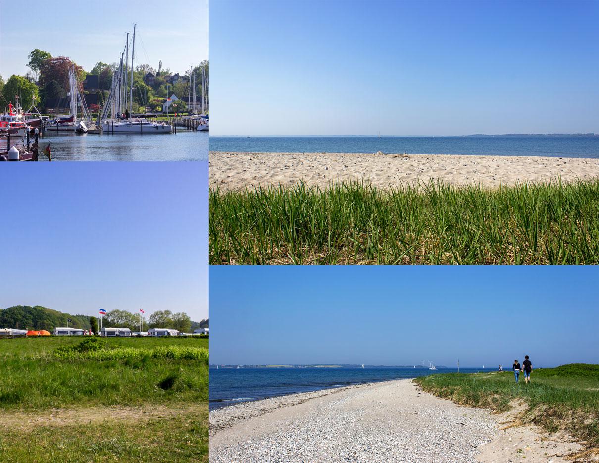 Collage mit vier Fotos - Yachthafen - Campingplatz - Strand