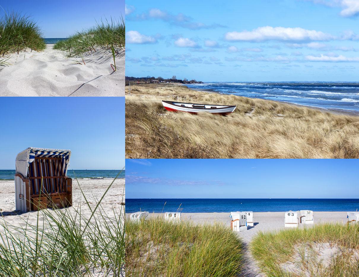 Collage aus vier Fotos - Weg zum Strand - Boot am Meer - Strandkörbe am Strand
