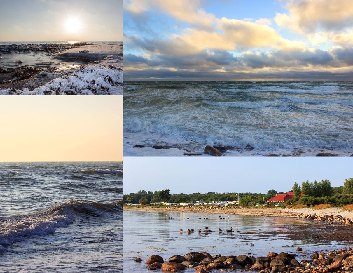 Collage mit vier Fotos - Eis und Schnee am Strand beim Sonnenaufgang - Wellen am Strand - Blick auf den Campingplatz im Sommer