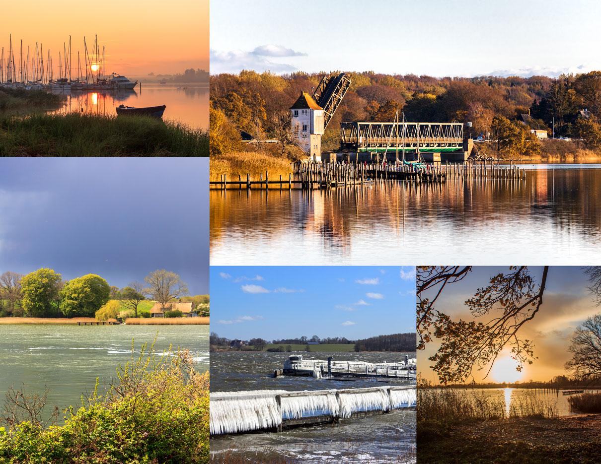 Collage mit fünf Fotos - Sonnenaufgang am Yachthafen in Lindaunis - Lindaunisbrücke im Herbst - Blick von Stubbe nach Lindaunis über die Schlei - Vereister Steg am Yachthafen - Sonnenuntergang an der Schlei