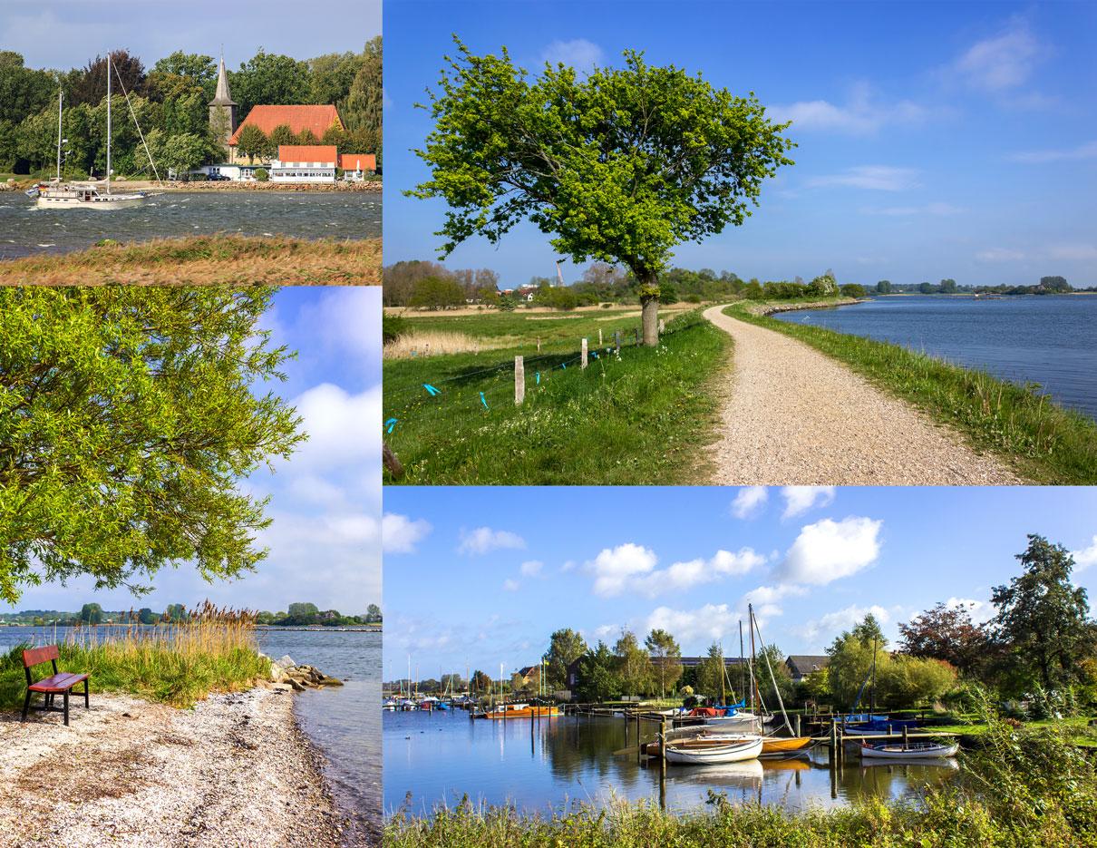 Collage mit vier Fotos - Segelboot auf der Schlei vor der Kirche in Arnis - Weg entlang der Schlei in Arnis - Bank in Arnis an der Schlei - Boote in Arnis
