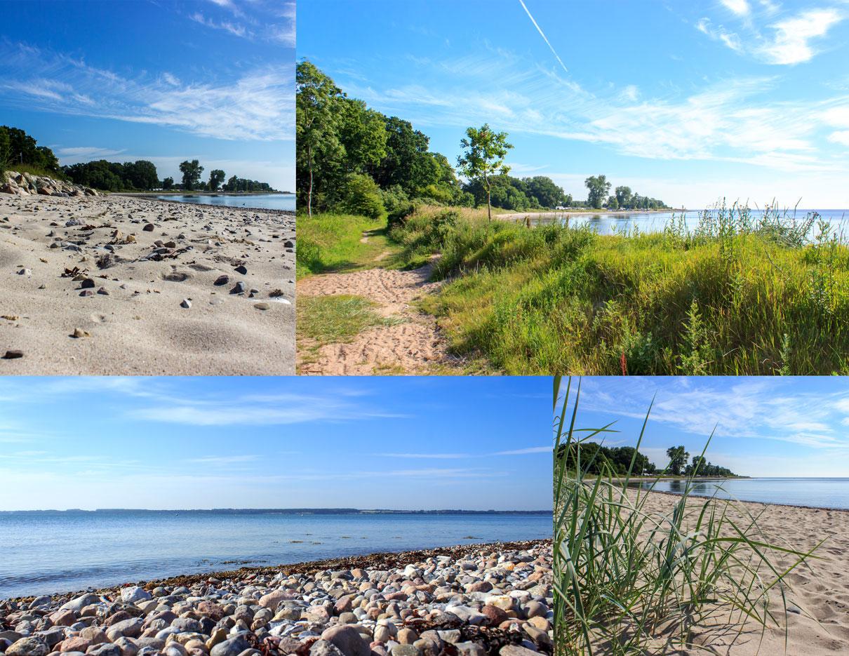 Collage Lehmberg mit vier Fotos - Strand - Weg am Strand - Steine - Strandhafer