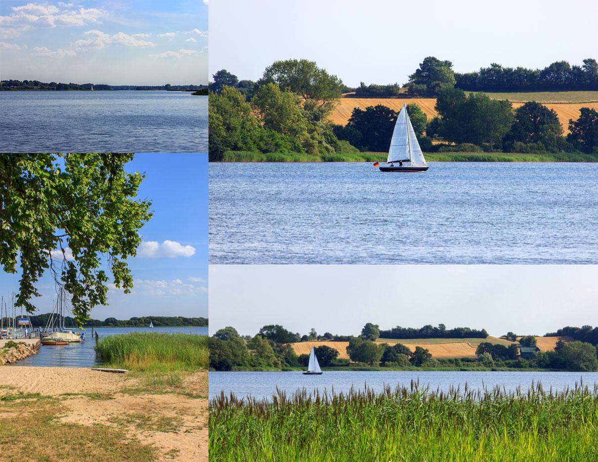 Collage Ulsnis - Segelboot auf der Schlei in Ulsnis