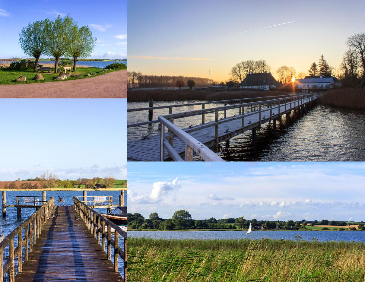 Collage Sieseby - Bäume im Frühling - Bootssteg im Frühling und im Winter - Segelboot auf der Schlei