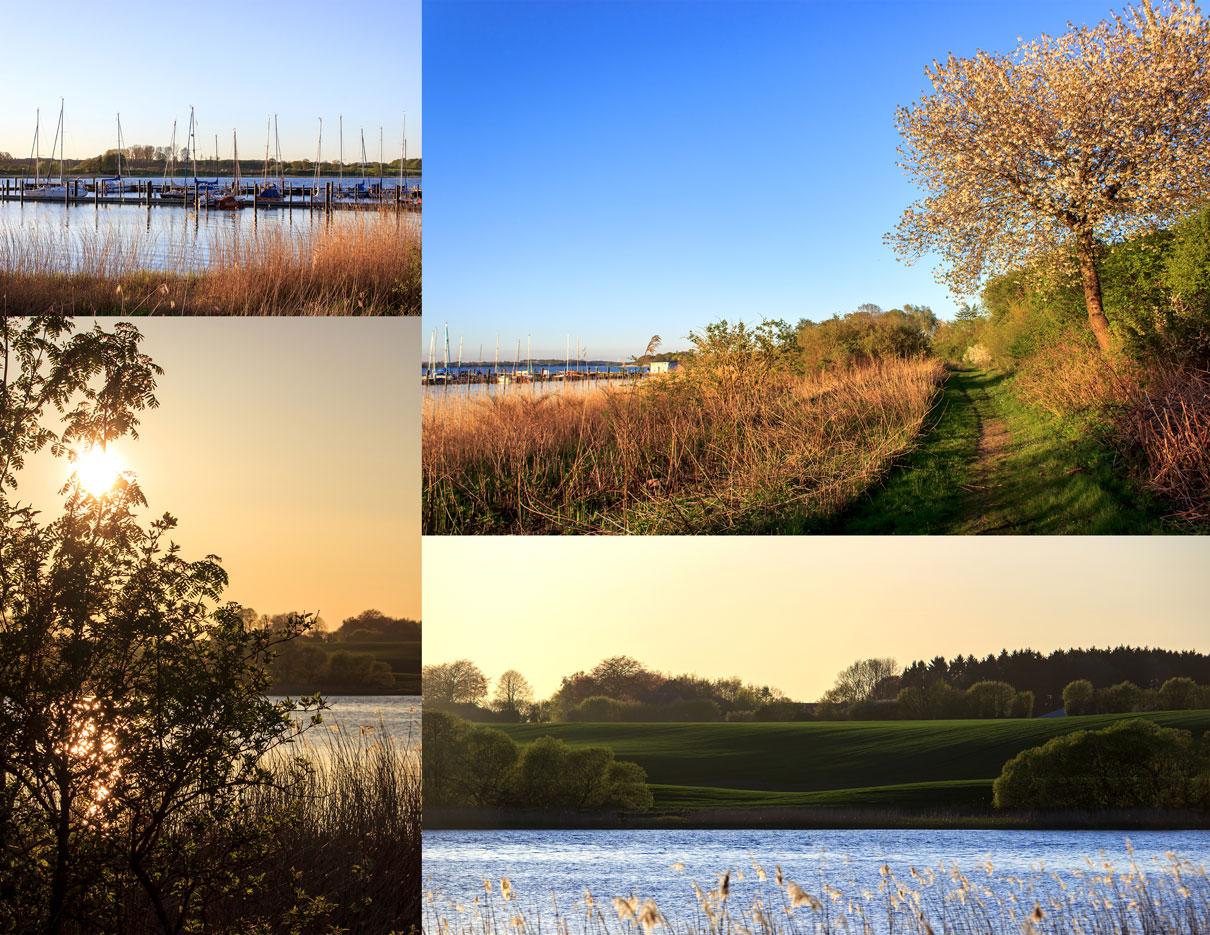 Collage mit vier Fotos - Yachthafen Bohnert - Weg an der Schlei - Sonnenuntergang - Abendrot