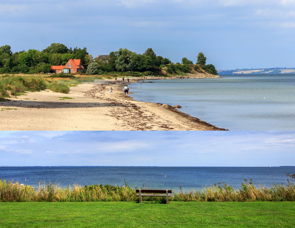 Collage mit zwei Fotos - Strand und Steilküste - Bank am Strand