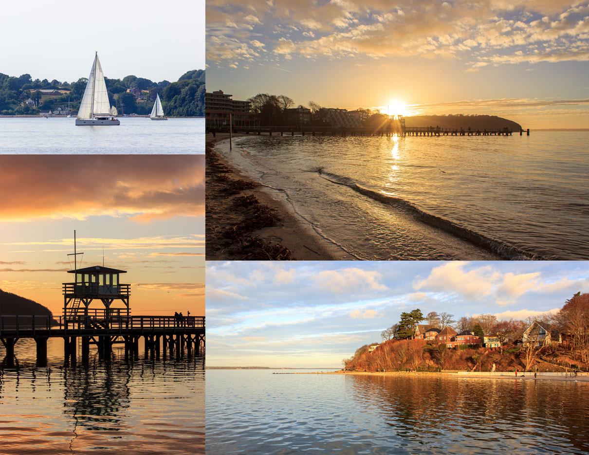 Collage mit vier Fotos - Segelboote auf der Flensburger Förde - Sonnenuntergang - Abendrot - Spiegelung der Seebrücke in der Ostsee