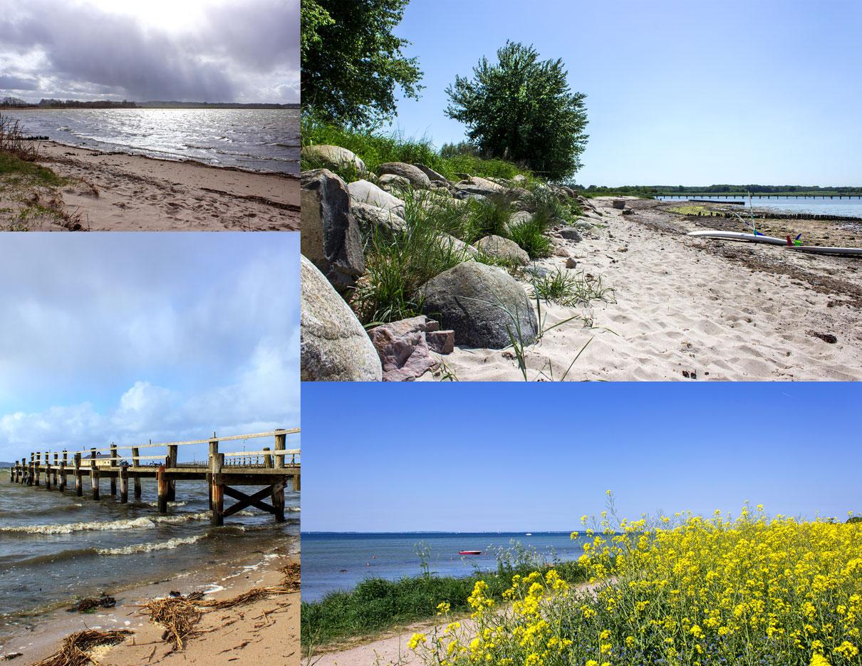 Collage mit vier Fotos - Strand - Rapsfeld - Steg zum Yachthafen - Sonnenschein