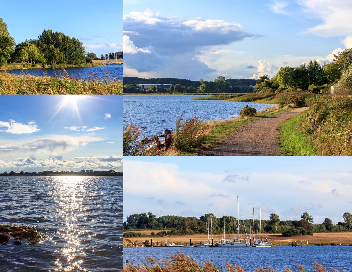 Collage mit vier Fotos - Weg an der Schlei - Sonnenschein - Segelboote