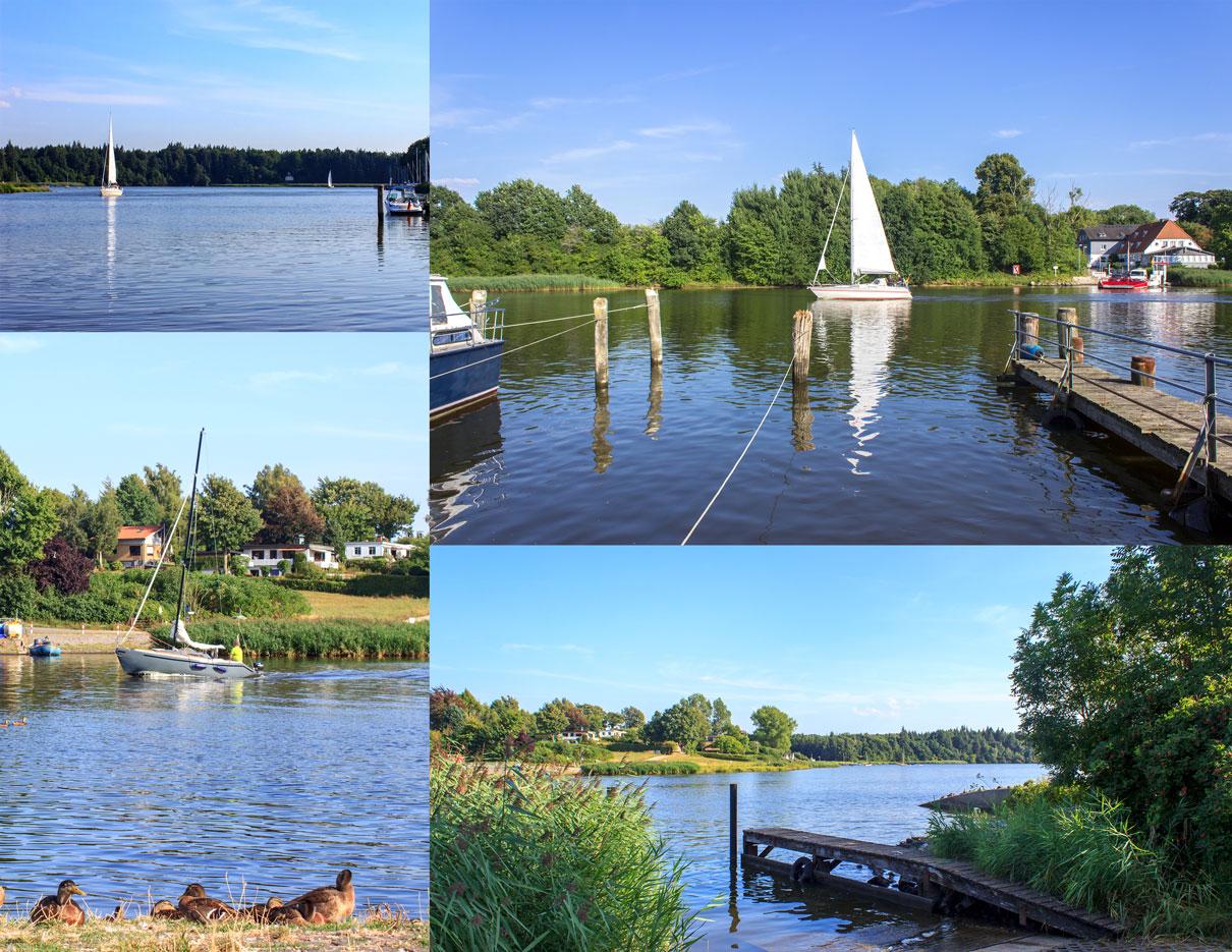 Collage mit vier Fotos - Segelboote auf der Schlei -Steg an der Schlei