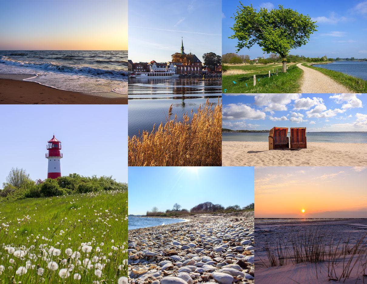 Collage mit sieben Fotos - Sonnenaufgang am Strand - Kappeln im Herbst - Weg in Arnis im Frühling - Leuchtturm in Falshöft im Frühling - Muscheln am Schleistrand Schneiderhaken - Sonnenaufgang im Winter in Damp