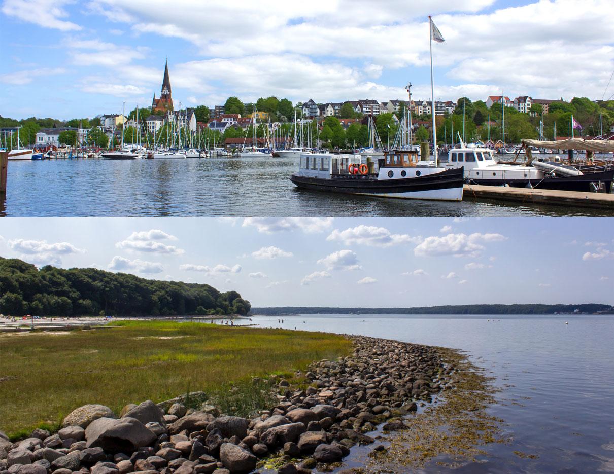 Collage aus zwei Bildern - Hafen in Flensburg - Strand in Solitüde