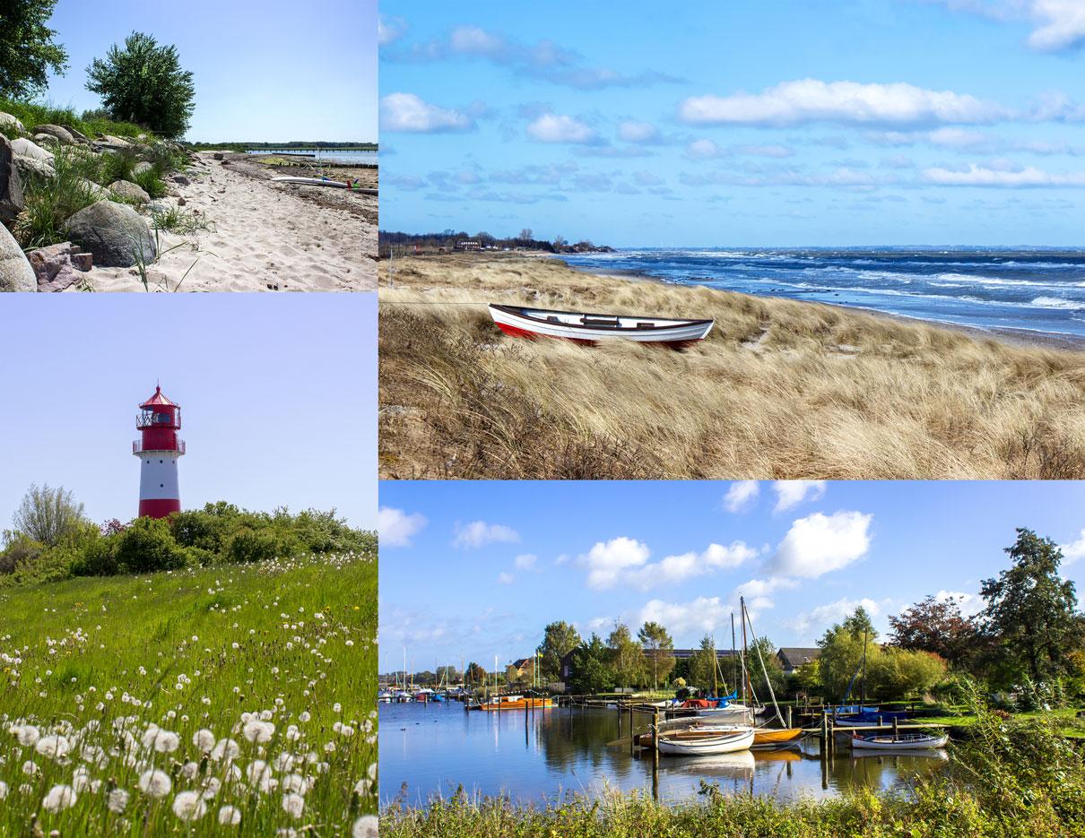 Collage Angeln - Leuchtturm in Falshöft - Boote in Arnis - Boot am Strand in Kronsgaard - Strand in Wackerballig