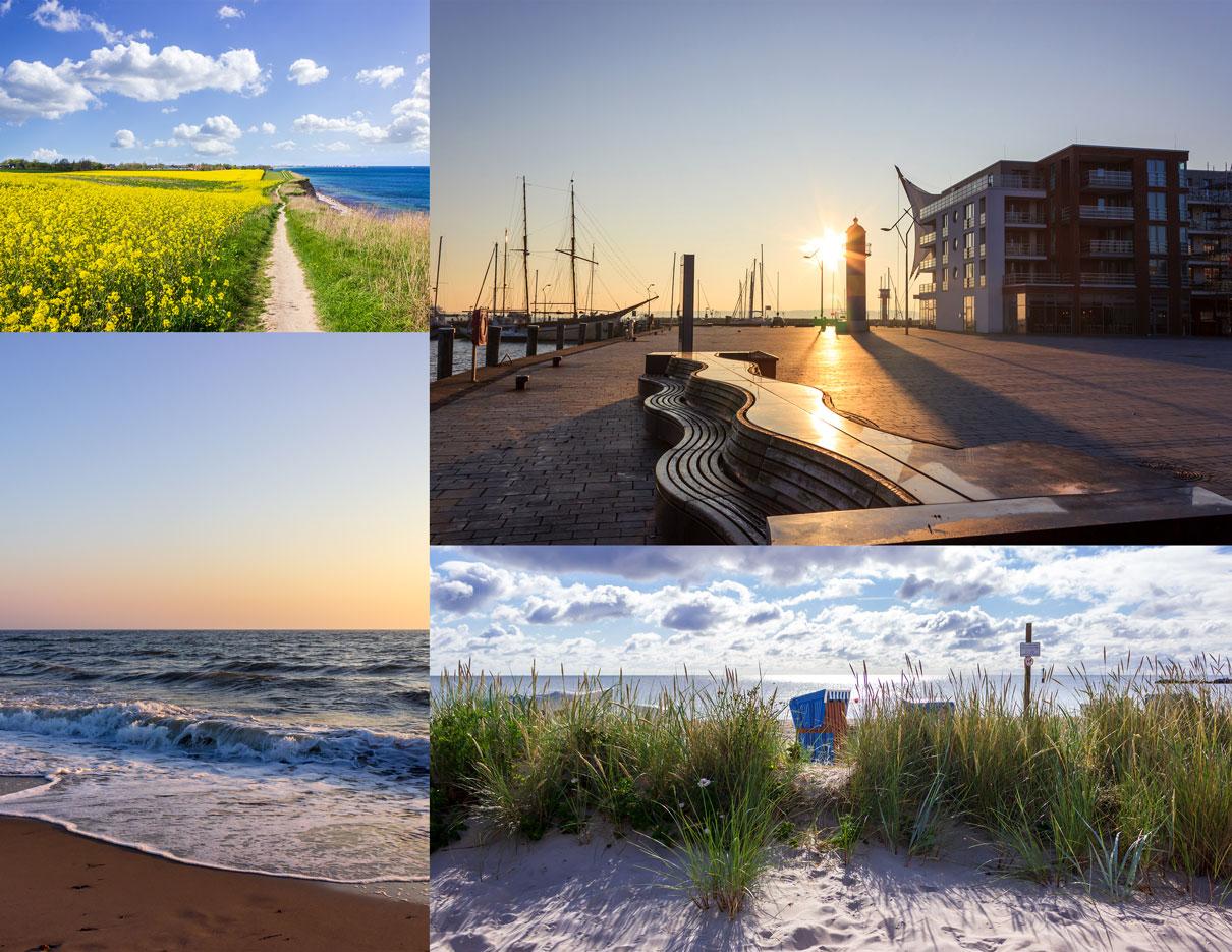Collage Schwansen mit vier Fotos - Raps an der Steilküste in Schönhagen - Sonnenaufgang am Hafen in Eckernförde - Morgenrot in Damp - Strandkorb am Strand in Damp