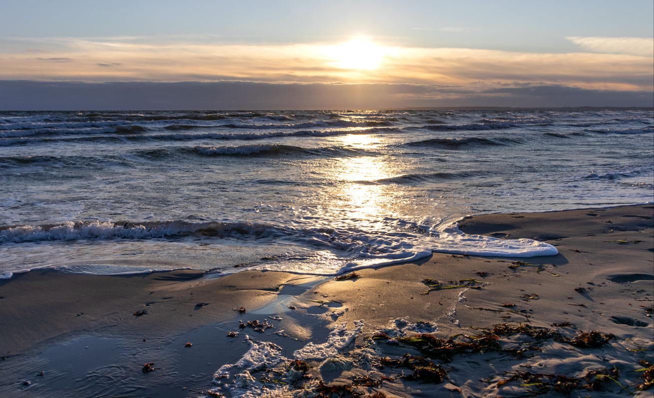 Sonnenaufgang am Strand in Damp